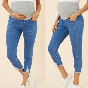 Maternity casual Plain Print Close-fitting jeans High Waist Belly Support leggings Pregnancy Skinny Pants Body Shaping Trousers