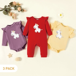3-Pack Baby Graphic Flutter-sleeve Romper and Jumpsuit Set