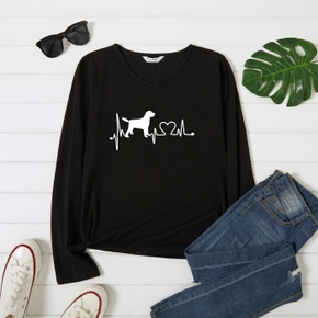 Graphic Army green Long-sleeve V Neck Tee for Women