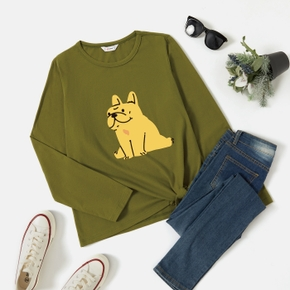 Graphic Army green Long-sleeve Round-collar Tee for Women