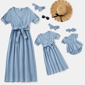 100% Cotton Solid Crepe V-neck Short-sleeve Matching Casual Dresses