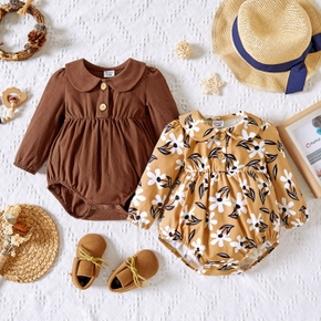 Baby Girl 100% Cotton Solid Brown/Floral Print Doll Collar Long-sleeve Romper