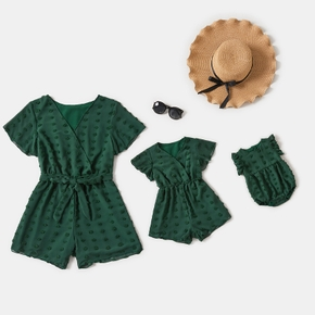Dark Green Dots Decor V-neck Cotton Short-sleeve Shorts Romper for Mom and Me