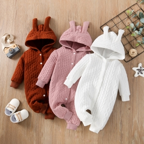 Solid Knitted Hooded Long-sleeve Pink Baby Jumpsuit