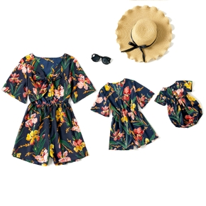 Allover Floral Print Cotton Short Sleeve Shorts Romper for Mom and Me