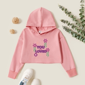 Kids Graphic Pink Long-sleeve Hooded Pullover