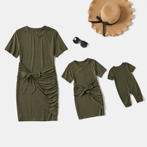 Solid Army Green Short-sleeve Tie Waist Mini Dress for Mom and Me