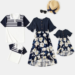 Allover Plant Floral Print and Stripe Splice Short-sleeve Family Matching Sets