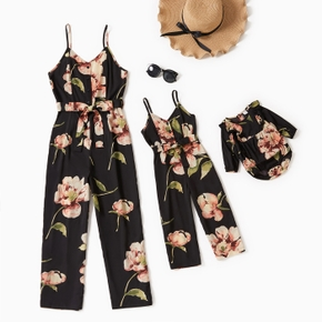Floral Print Black Spaghetti Strap Jumpsuit Romper for Mom and Me