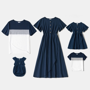 Solid Navy Blue Family Matching Sets(Short-sleeve Dresses and Colorblock T-shirts)