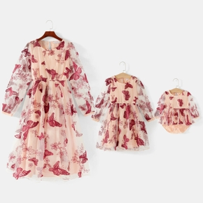 All Over Butterfly Embroidered Mesh Splice Lantern Long-sleeve Midi Dress for Mom and Me