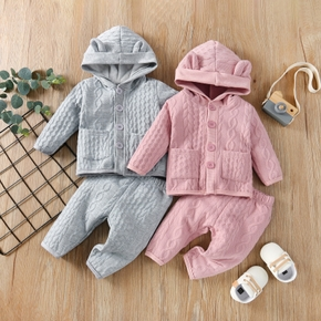 Baby 2pcs 3D Ear Solid Knitted Button Front Hooded Cardigan Sweater Set