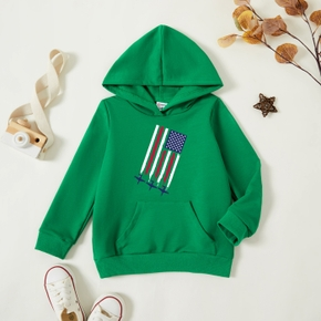 Toddler Graphic Green Long-sleeve Hooded Pullover