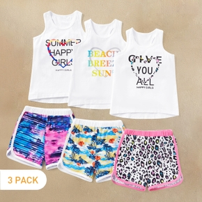 3 Set in Pack Letter Print Tank Top and Shorts Athletic Set for Toddlers / Kids