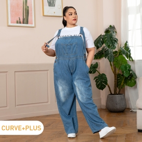 Women Plus Size Casual Button Design Denim Overalls with Pocket