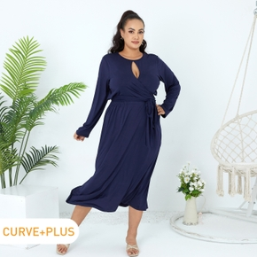 2-piece Women Plus Size Elegant Hollow out Front Tie Back Long-sleeve Top and Side Slit Skirt Set