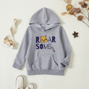 Toddler Graphic Light gray Long-sleeve Hooded Pullover