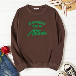 Graphic Brown Long-sleeve Pullover For Women