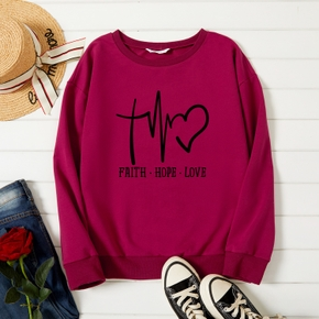 Graphic Burgundy Long-sleeve Pullover For Women