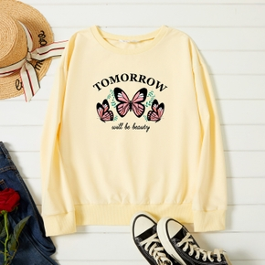 Graphic Beige Long-sleeve Pullover For Women