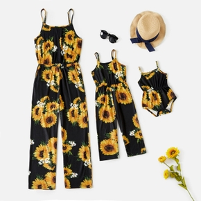 Sunflower Floral Print Spaghetti Strap Jumpsuit Romper for Mom and Me