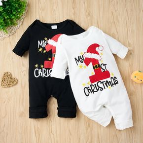 Christmas Hat and Letter Print Solid Long-sleeve Baby Jumpsuit