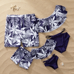 White Leaves Print Family Matching Navy Blue Swimsuits