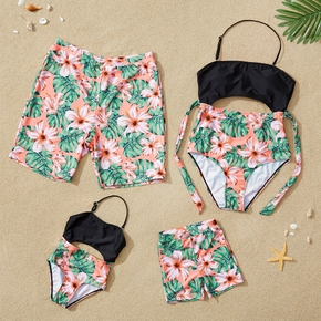 Hollow Floral Print Family Swimsuits