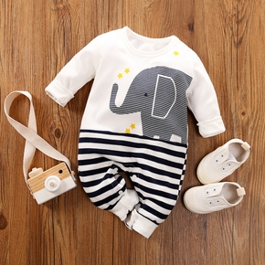 Adorable Elephant Graphic Striped Jumpsuit for Baby Boy