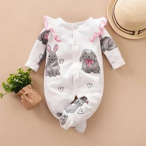100% Cotton Rabbit Print Footed/footie Long-sleeve Baby Jumpsuit