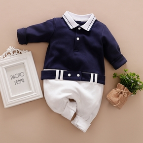 100% Cotton Color Block Polo Collar Long-sleeve Baby Jumpsuit