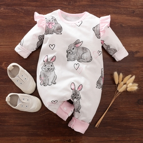 100% Cotton Rabbit and Heart Print Long-sleeve Baby Jumpsuit
