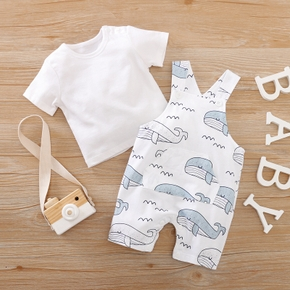 Baby Casual Solid Top and Animal Whale Suspender Pants Set