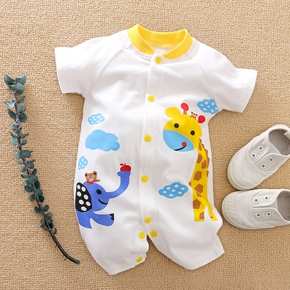 Baby Boy / Girl Giraffe Print Short-sleeve Romper