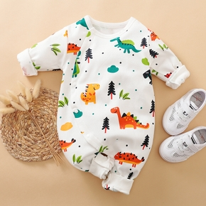 Adorable Dinosaur Long Sleeve Snap-up Jumpsuit