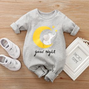 100% Cotton Elephant and Letter Print Long-sleeve Grey Baby Jumpsuit