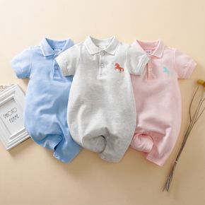 100% Cotton Solid Unicorn Embroidery Lapel Collar Short-sleeve Baby Jumpsuit