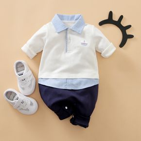 Baby Long-sleeve Lapel Collar Sailboat School Jumpsuit