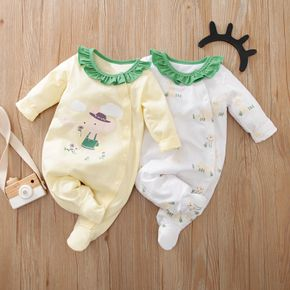 Baby Mouse and Rabbit Print Ruffle Collar Long-sleeve Footed Jumpsuit