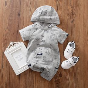 Baby Hooded Short-sleeve Casual Vehicle Romper