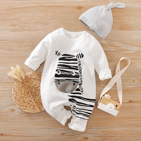 Playful Zebra Long Sleeve Cotton Jumpsuit in White with Hat for Baby Boy and Newborn(loose shape)