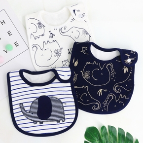 Cute Cotton Elephant Baby Bibs Newbron Toddler Kids Burp Cloth Feeding Apron Baby Saliva Towel Scarf Bandana Bibs Baby Stuff