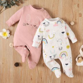 100% Cotton Rabbit Embroidery or Rainbow Print Footed/footie Long-sleeve Baby Jumpsuit