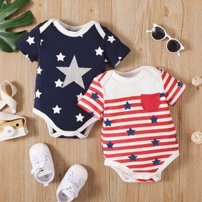 100% Cotton Stripe and Star Print Short-sleeve Baby Romper