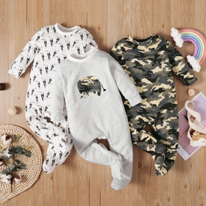 Baby Long-sleeve Footed casual Animal&Elephant Print Jumpsuit