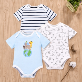 Baby Adorable Elephant Earth Striped Romper