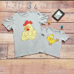 Fun Chicken Print Cotton T-shirts for Daddy and Me