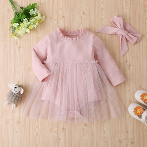 2-piece Baby Solid Tulle Romper with Headband