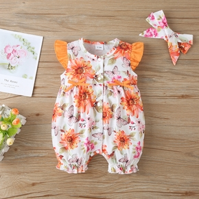 2pcs Floral Allover Ruffle and Bow decor Flutter-sleeve Yellow Baby Set