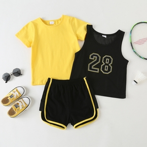 3-piece Toddler Boy Sporty Breathable Tee Camisole Shorts Set
